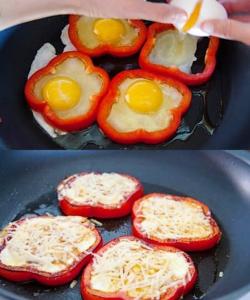 Pečena jajca v rožici iz paprike
