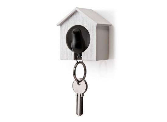 Obesek in hišica za ključe vrabec - enojen - belo, črna