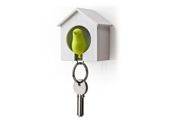 Obesek in hišica za ključe vrabec - enojen - belo, zelena