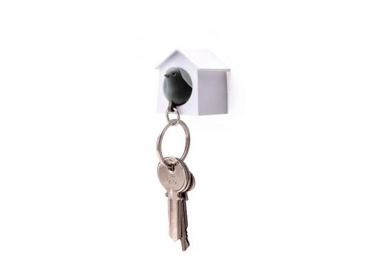 Mini obesek in hišica za ključe vrabec - enojen - belo, črna