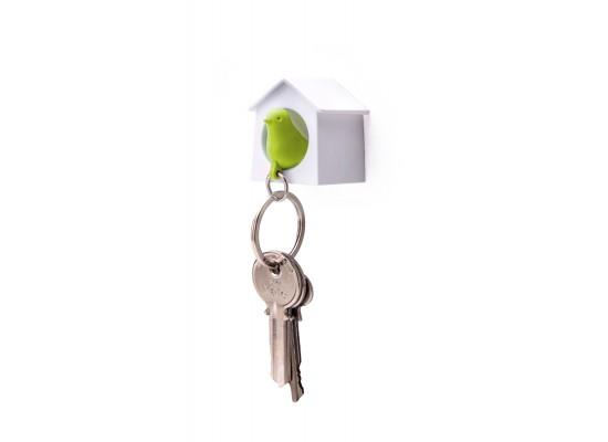 Mini obesek in hišica za ključe vrabec - enojen - belo, zelena