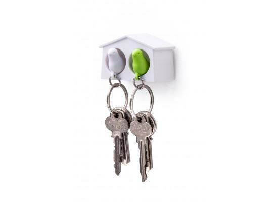 Mini obesek in hišica za ključe vrabec - dvojen- belo, zelena
