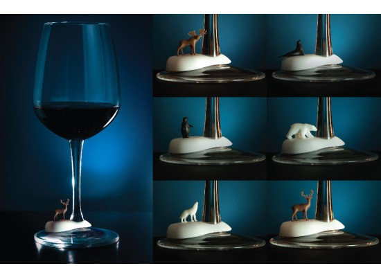 Označevalci kozarecev za vino - zimske živali (6 kos)