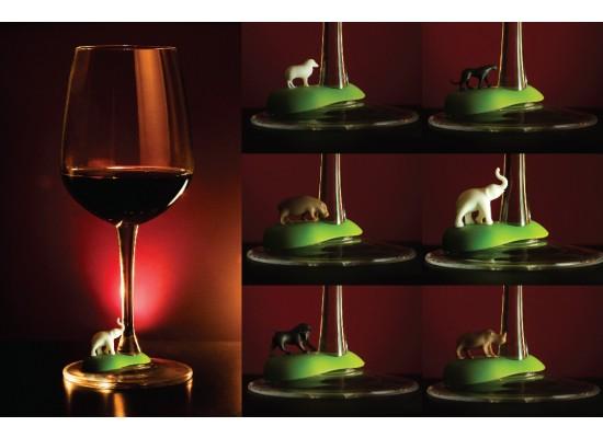 Označevalci kozarecev za vino - tropske živali (6 kos)