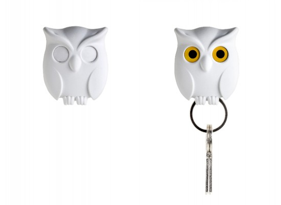 Obesek in hiška za ključe sovica - bela