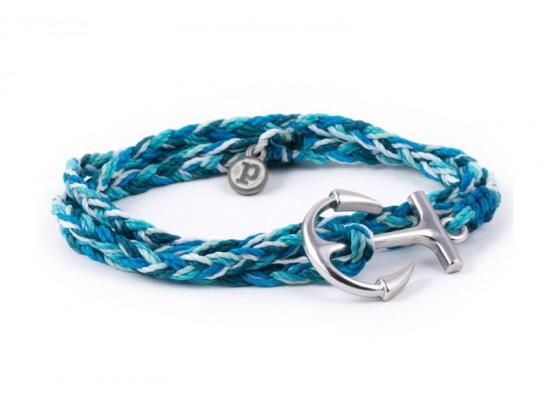 Zapestnica srebrno sidro - modra aqua