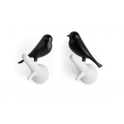 Obešalnik za oblačila vrabec - belo črn (2 kosa)