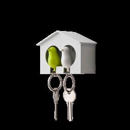 Obesek in hišica za ključe vrabec - dvojen - belo, zelena