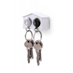 Mini obesek in hišica za ključe vrabec - dvojen - belo, črna