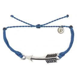 Zapestnica srebrna puščica - indigo modra